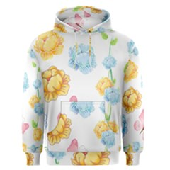 Rose Flower Floral Blue Yellow Gold Butterfly Animals Pink Men s Pullover Hoodie