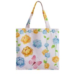 Rose Flower Floral Blue Yellow Gold Butterfly Animals Pink Zipper Grocery Tote Bag