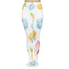 Rose Flower Floral Blue Yellow Gold Butterfly Animals Pink Women s Tights