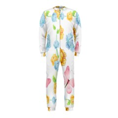 Rose Flower Floral Blue Yellow Gold Butterfly Animals Pink OnePiece Jumpsuit (Kids)