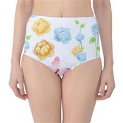 Rose Flower Floral Blue Yellow Gold Butterfly Animals Pink High-Waist Bikini Bottoms