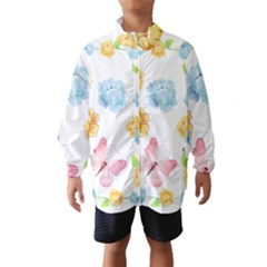 Rose Flower Floral Blue Yellow Gold Butterfly Animals Pink Wind Breaker (kids)