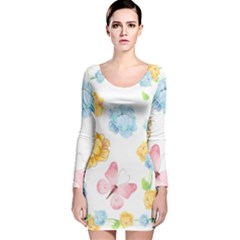 Rose Flower Floral Blue Yellow Gold Butterfly Animals Pink Long Sleeve Velvet Bodycon Dress