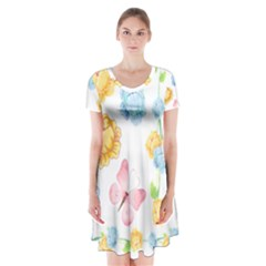 Rose Flower Floral Blue Yellow Gold Butterfly Animals Pink Short Sleeve V-neck Flare Dress