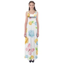 Rose Flower Floral Blue Yellow Gold Butterfly Animals Pink Empire Waist Maxi Dress