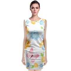 Rose Flower Floral Blue Yellow Gold Butterfly Animals Pink Classic Sleeveless Midi Dress
