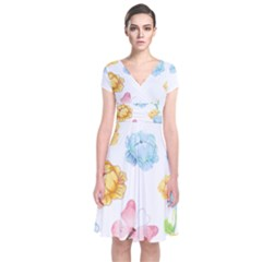 Rose Flower Floral Blue Yellow Gold Butterfly Animals Pink Short Sleeve Front Wrap Dress