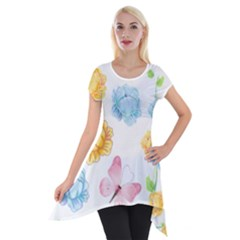 Rose Flower Floral Blue Yellow Gold Butterfly Animals Pink Short Sleeve Side Drop Tunic