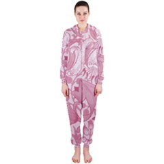 Vintage Style Floral Flower Pink Hooded Jumpsuit (Ladies)