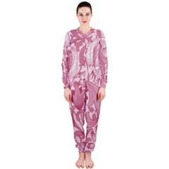 Vintage Style Floral Flower Pink OnePiece Jumpsuit (Ladies)