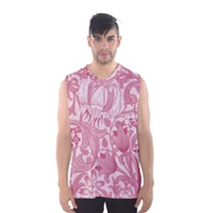 Vintage Style Floral Flower Pink Men s Basketball Tank Top