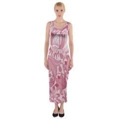 Vintage Style Floral Flower Pink Fitted Maxi Dress