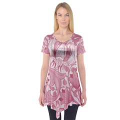 Vintage Style Floral Flower Pink Short Sleeve Tunic