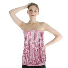 Vintage Style Floral Flower Pink Strapless Top