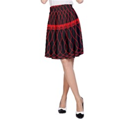 Red Spiral Featured A-Line Skirt