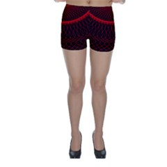 Red Spiral Featured Skinny Shorts