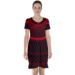 Red Spiral Featured Short Sleeve Nightdress