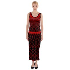 Red Spiral Featured Fitted Maxi Dress