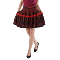 Red Spiral Featured A-Line Pocket Skirt