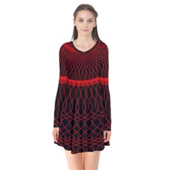 Red Spiral Featured Flare Dress