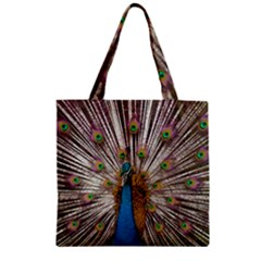 Indian Peacock Plumage Zipper Grocery Tote Bag