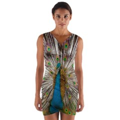 Indian Peacock Plumage Wrap Front Bodycon Dress