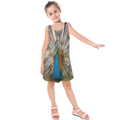 Indian Peacock Plumage Kids  Sleeveless Dress
