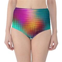 Colourful Weave Background High-Waist Bikini Bottoms