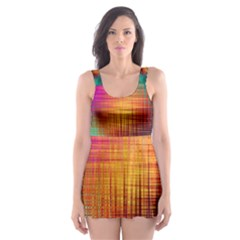 Colourful Weave Background Skater Dress Swimsuit