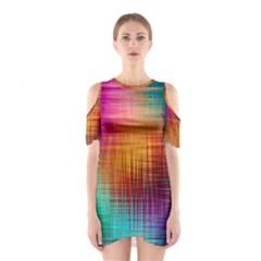 Colourful Weave Background Shoulder Cutout One Piece