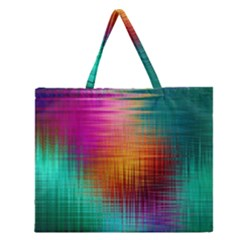 Colourful Weave Background Zipper Large Tote Bag