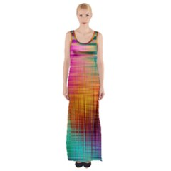 Colourful Weave Background Maxi Thigh Split Dress