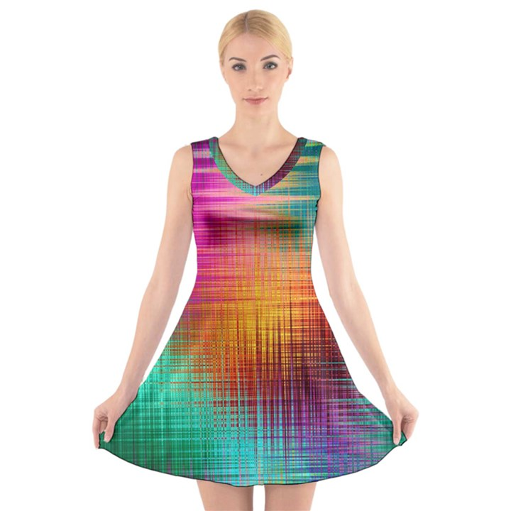 Colourful Weave Background V-Neck Sleeveless Skater Dress