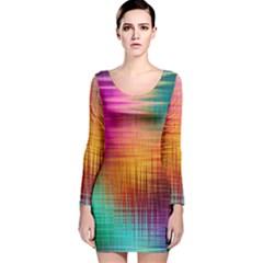 Colourful Weave Background Long Sleeve Velvet Bodycon Dress