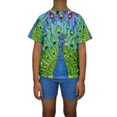 Peacock Bird Animation Kids  Short Sleeve Swimwear