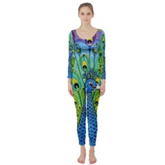 Peacock Bird Animation Long Sleeve Catsuit