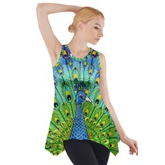 Peacock Bird Animation Side Drop Tank Tunic