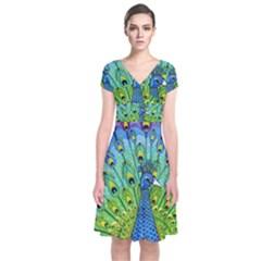 Peacock Bird Animation Short Sleeve Front Wrap Dress