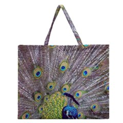 Peacock Bird Feathers Zipper Large Tote Bag