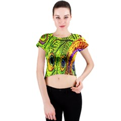 Peacock Feathers Crew Neck Crop Top
