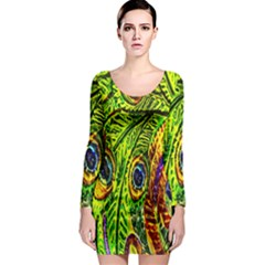 Peacock Feathers Long Sleeve Bodycon Dress