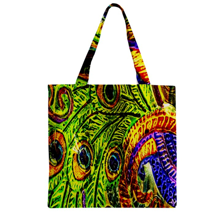 Peacock Feathers Zipper Grocery Tote Bag