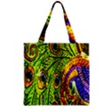 Peacock Feathers Zipper Grocery Tote Bag View2