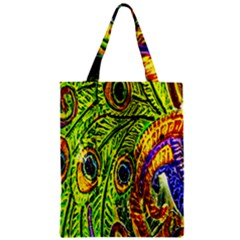 Peacock Feathers Zipper Classic Tote Bag