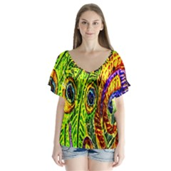 Peacock Feathers Flutter Sleeve Top