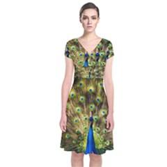 Peacock Bird Short Sleeve Front Wrap Dress