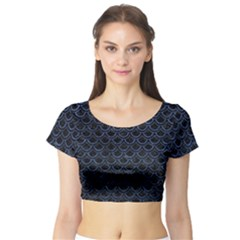 SCA2 BK-MRBL BL-STONE Short Sleeve Crop Top (Tight Fit)
