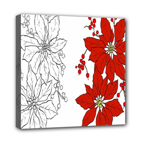 Poinsettia Flower Coloring Page Mini Canvas 8  x 8