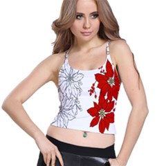 Poinsettia Flower Coloring Page Spaghetti Strap Bra Top
