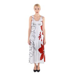 Poinsettia Flower Coloring Page Sleeveless Maxi Dress